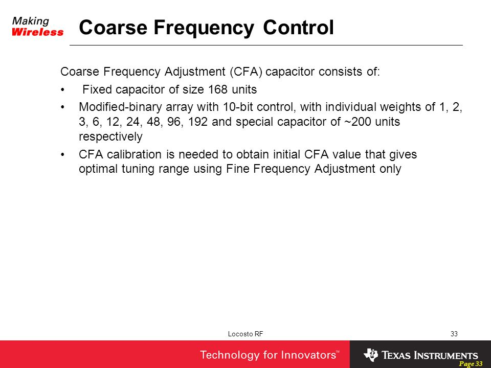 Coarse Frequency Control