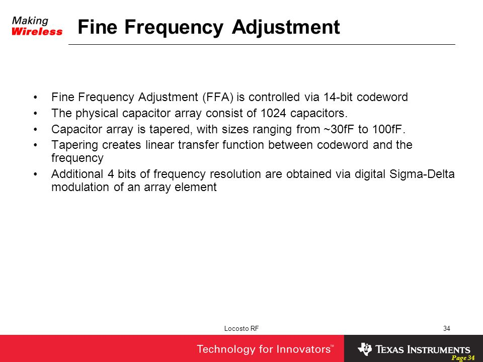 Fine Frequency Adjustment