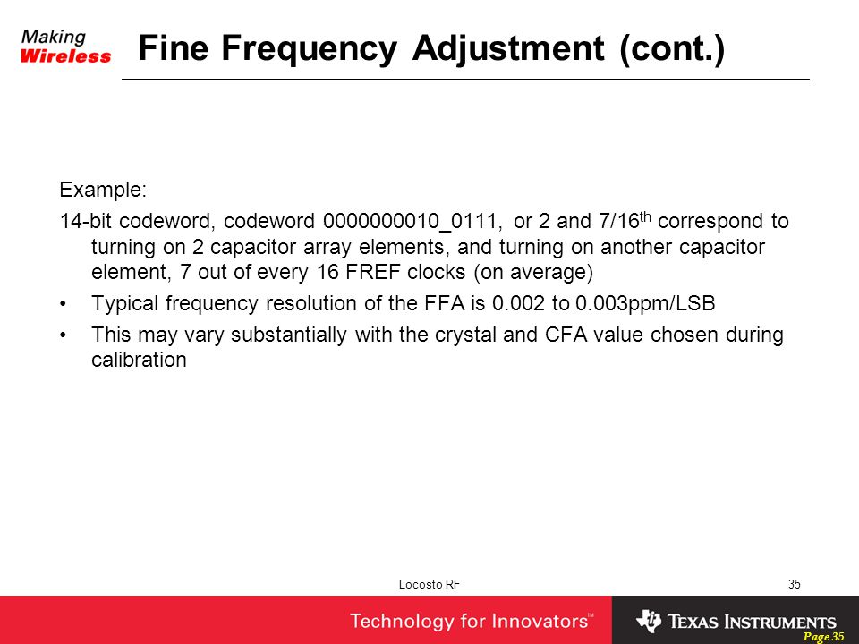 Fine Frequency Adjustment (cont.)
