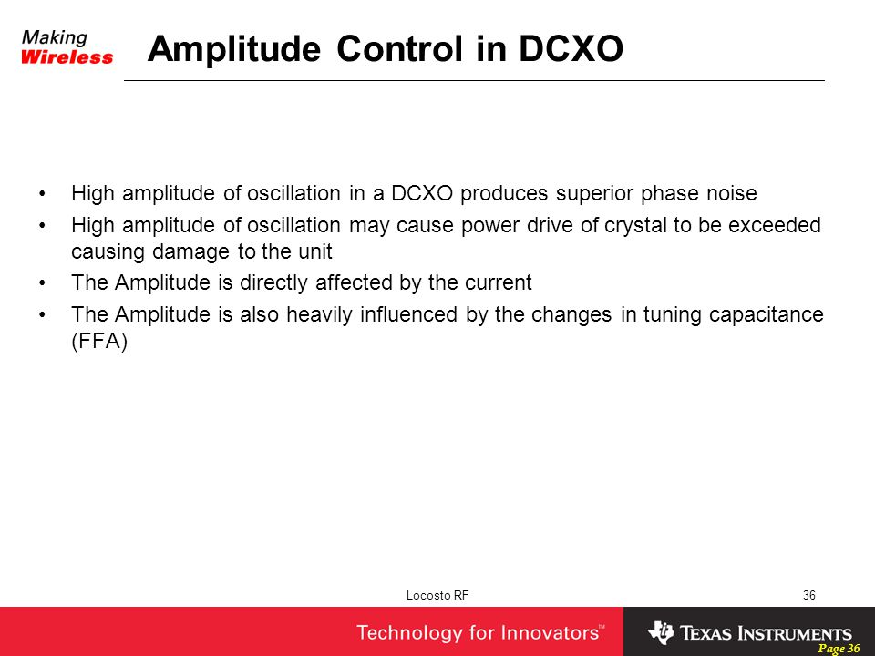 Amplitude Control in DCXO