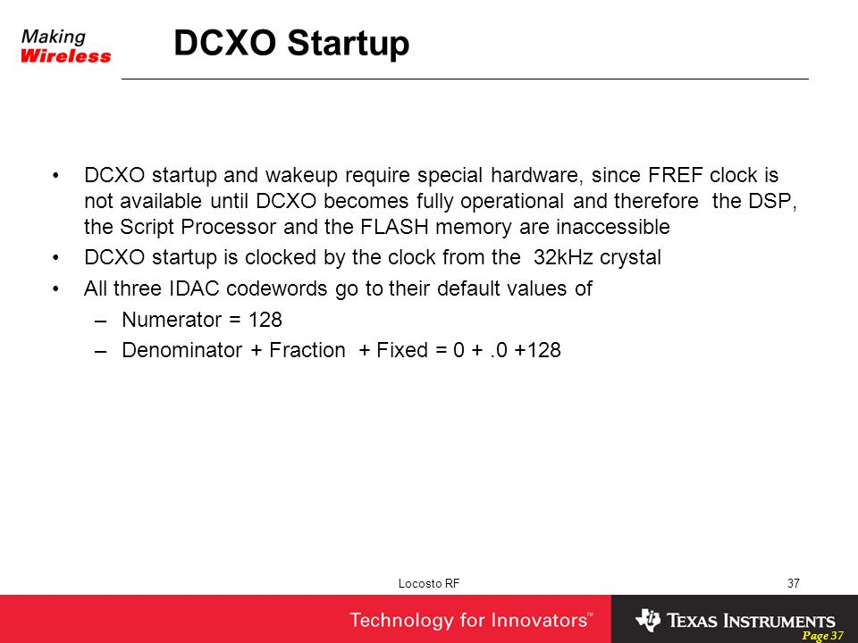 DCXO Startup