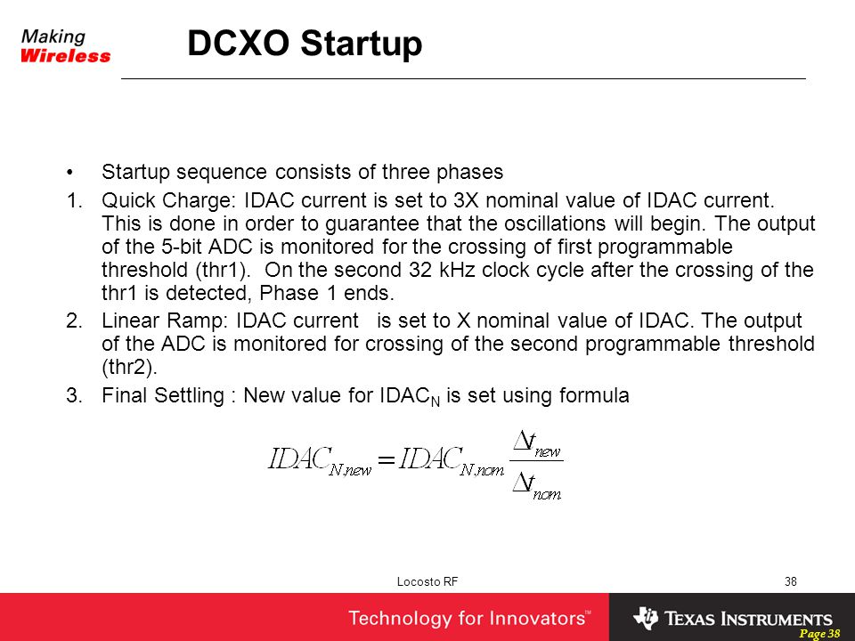 DCXO Startup Startup sequence consists of three phases