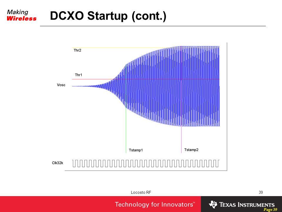 DCXO Startup (cont.) Locosto RF