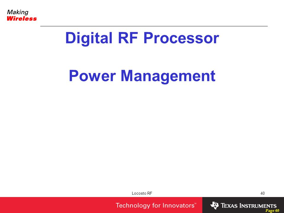 Digital RF Processor Power Management