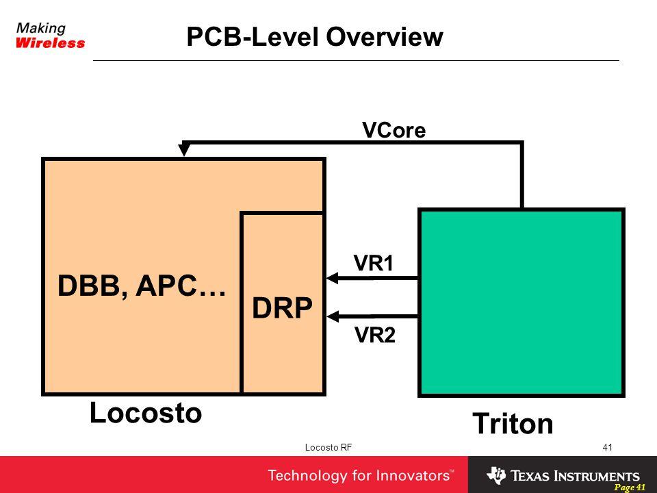 DBB, APC… DRP Locosto Triton PCB-Level Overview VCore VR1 VR2