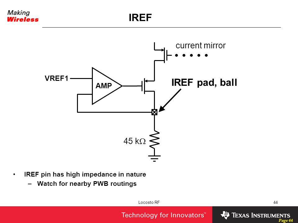 IREF IREF pad, ball current mirror 45 kW VREF1 AMP