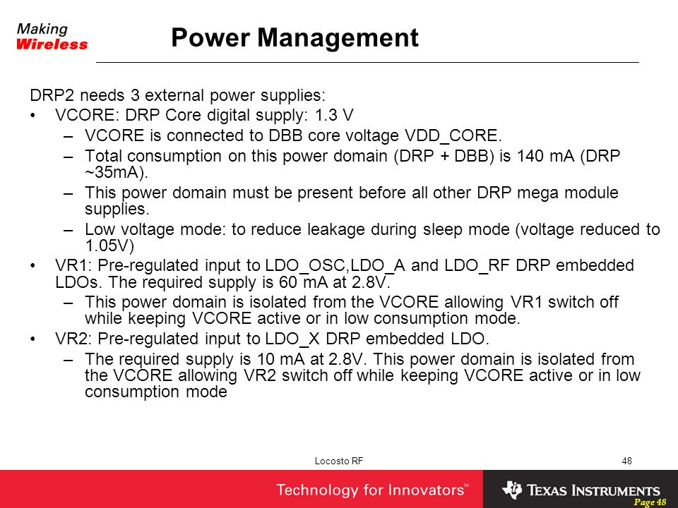 Power Management DRP2 needs 3 external power supplies: