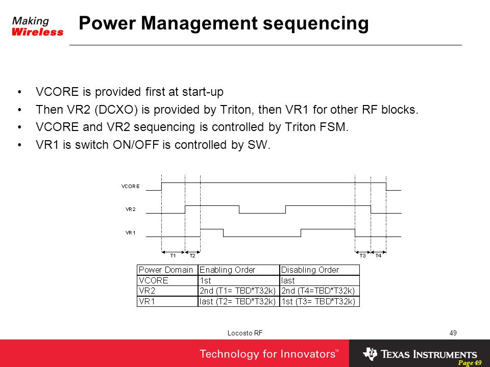 Power Management sequencing