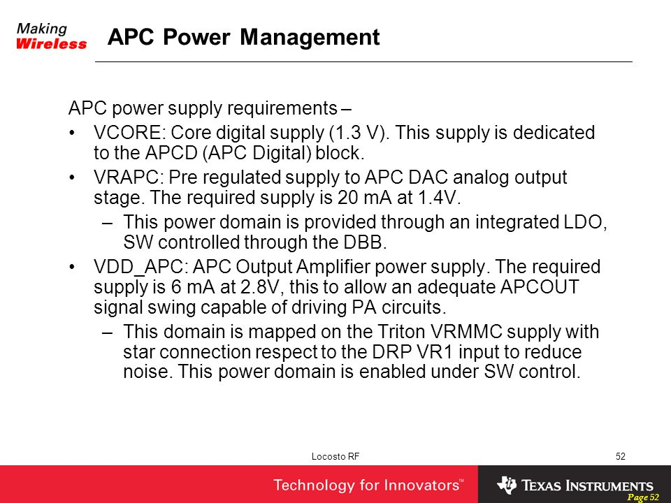 APC Power Management APC power supply requirements –