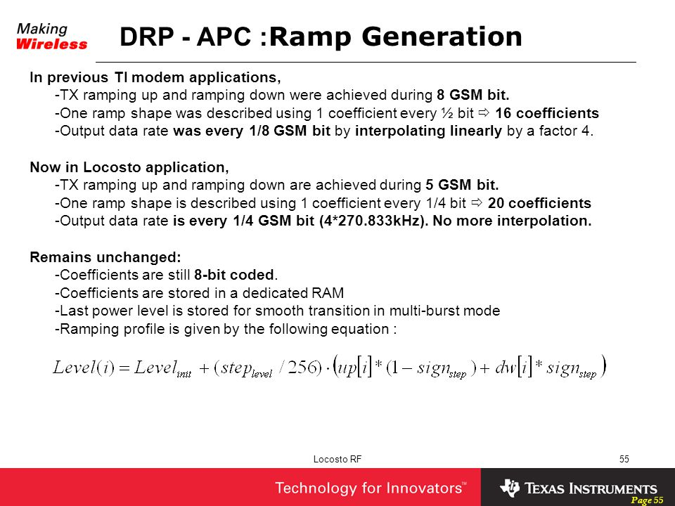 DRP - APC :Ramp Generation