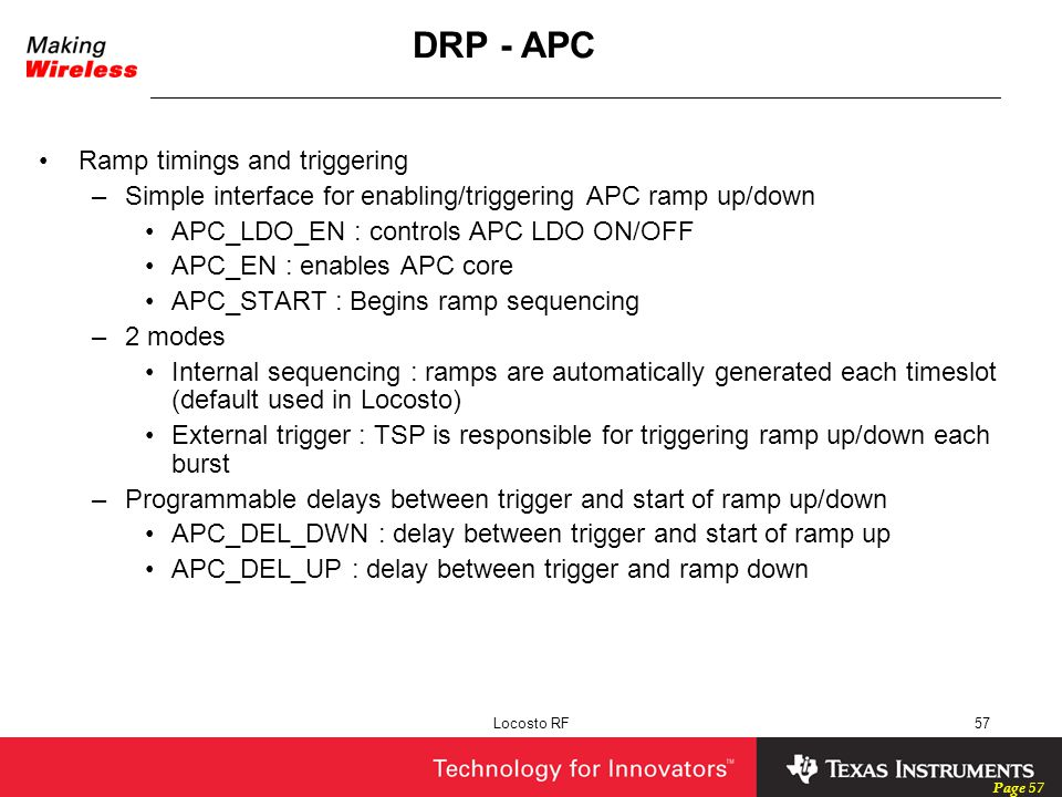 DRP - APC Ramp timings and triggering