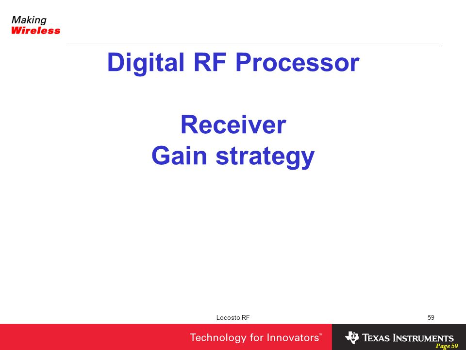 Digital RF Processor Receiver Gain strategy