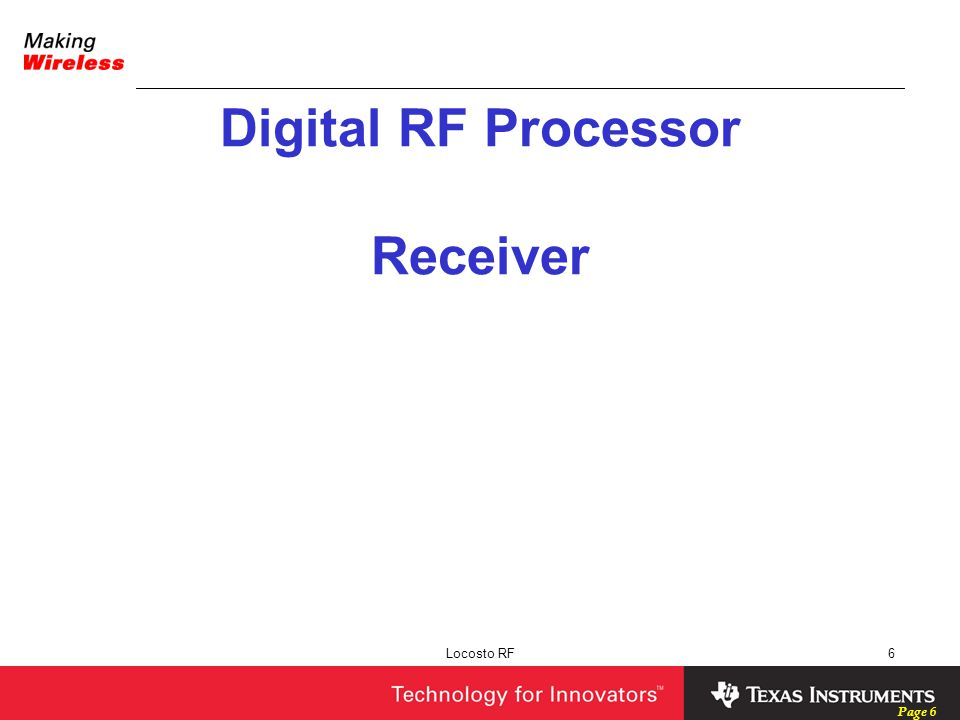 Digital RF Processor Receiver