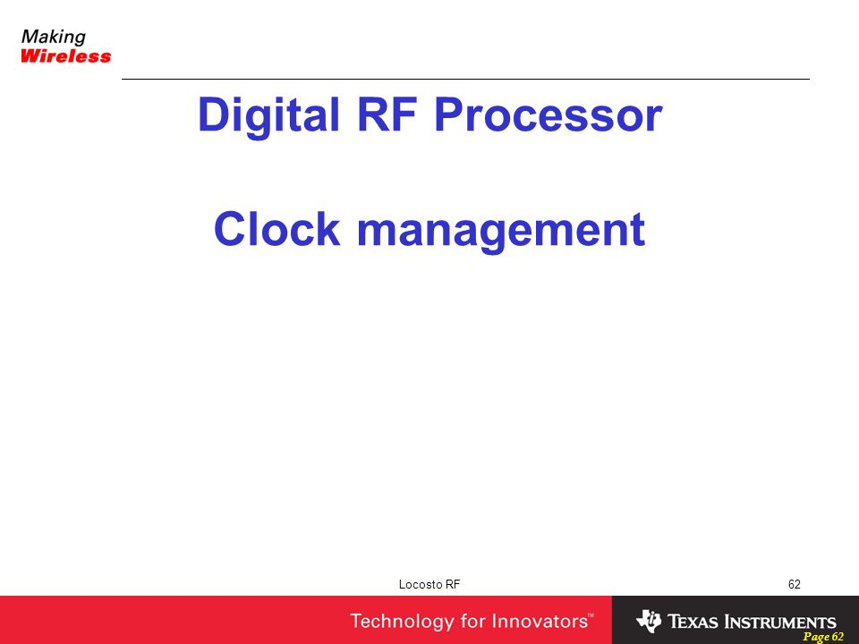 Digital RF Processor Clock management