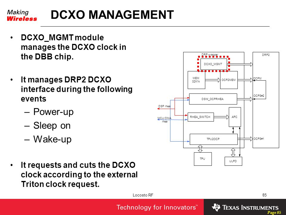 DCXO MANAGEMENT Power-up Sleep on Wake-up