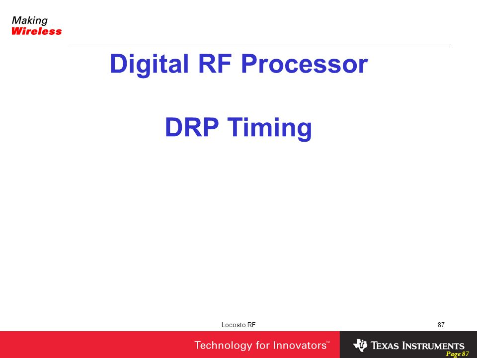 Digital RF Processor DRP Timing