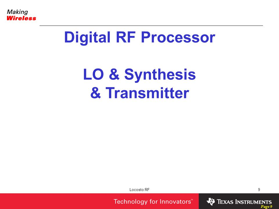 Digital RF Processor LO & Synthesis & Transmitter