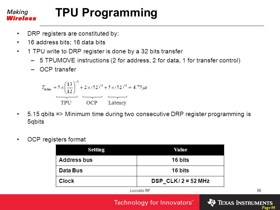 TPU Programming DRP registers are constituted by: