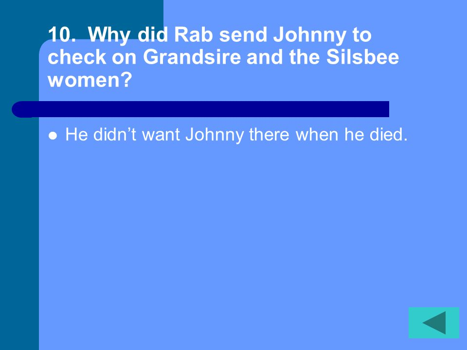 10. Why did Rab send Johnny to check on Grandsire and the Silsbee women