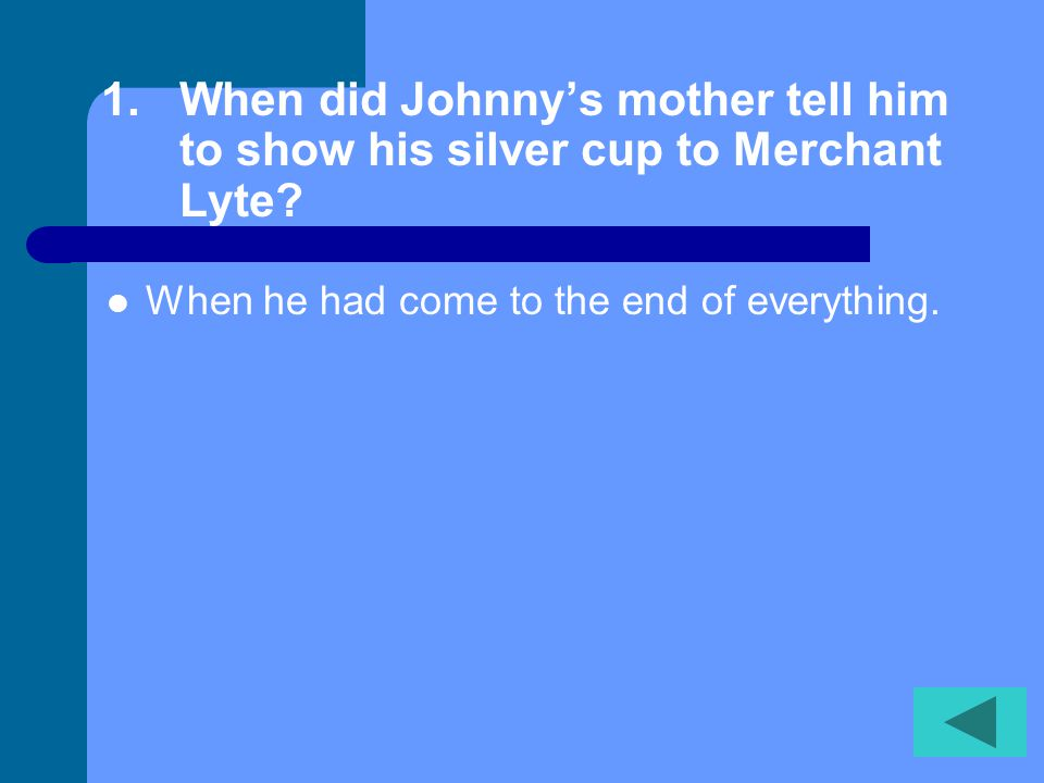 When did Johnny's mother tell him to show his silver cup to Merchant Lyte