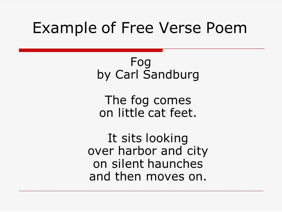 Example of Free Verse Poem