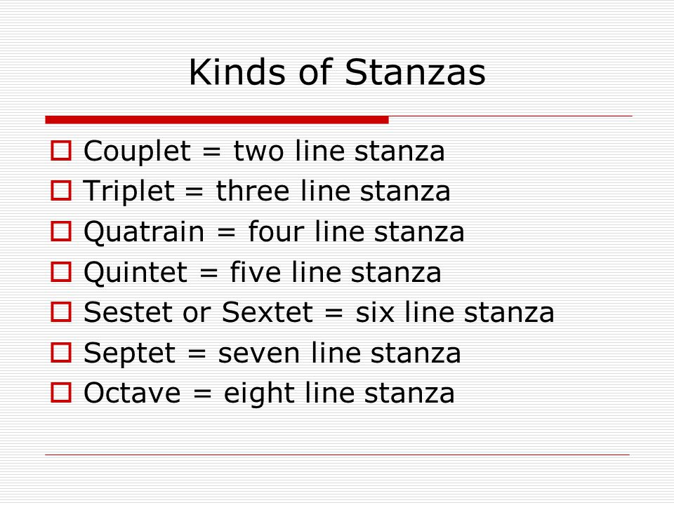 Kinds of Stanzas Couplet = two line stanza Triplet = three line stanza