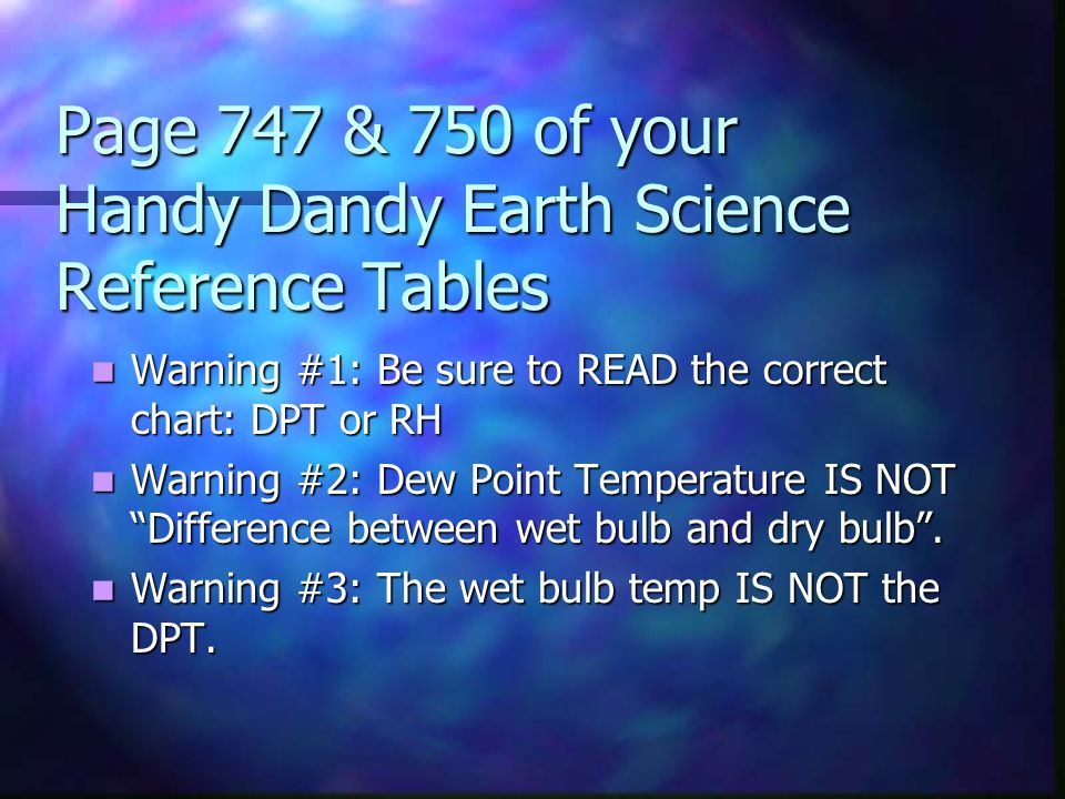 Page 747 & 750 of your Handy Dandy Earth Science Reference Tables