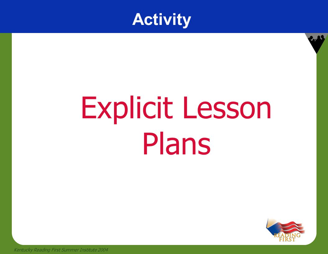 Activity Explicit Lesson Plans