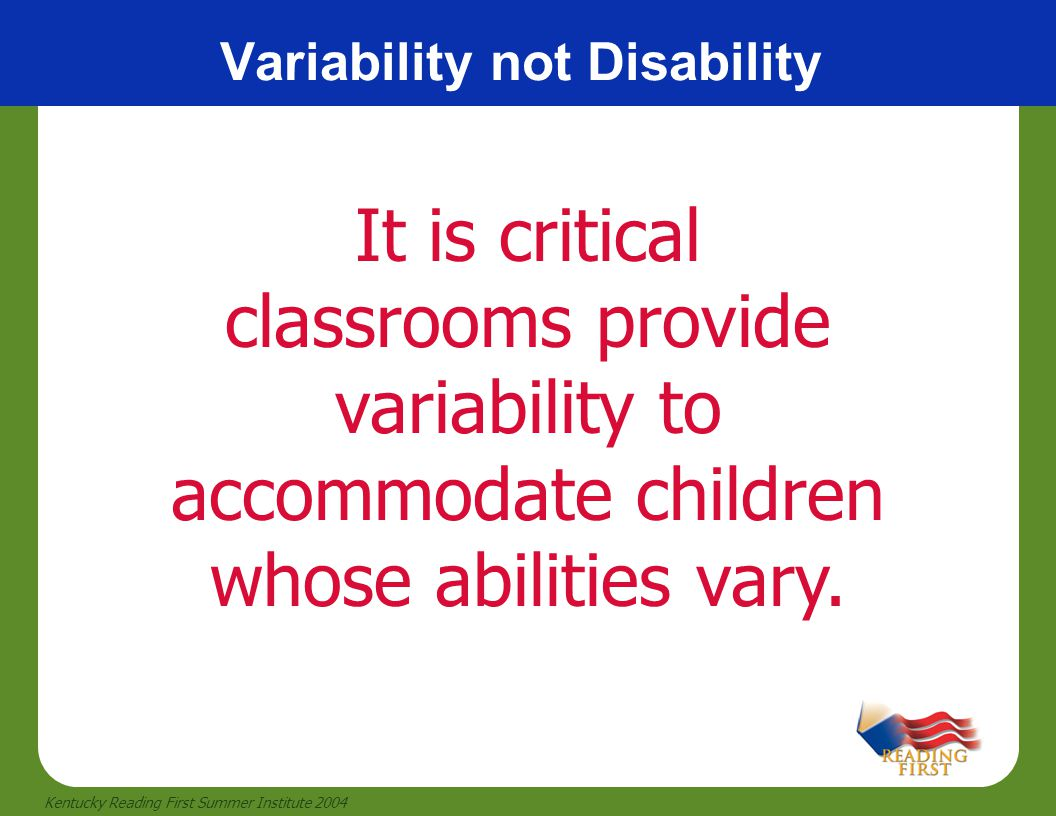 Variability not Disability