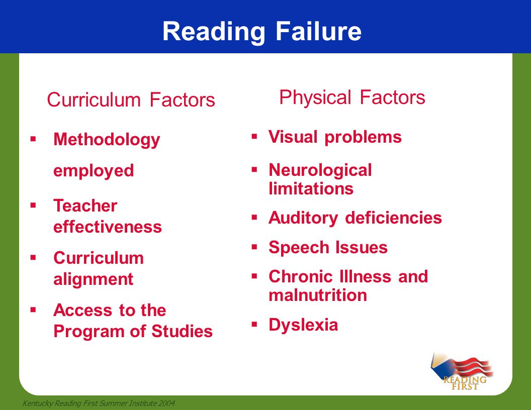 Reading Failure Curriculum Factors Physical Factors