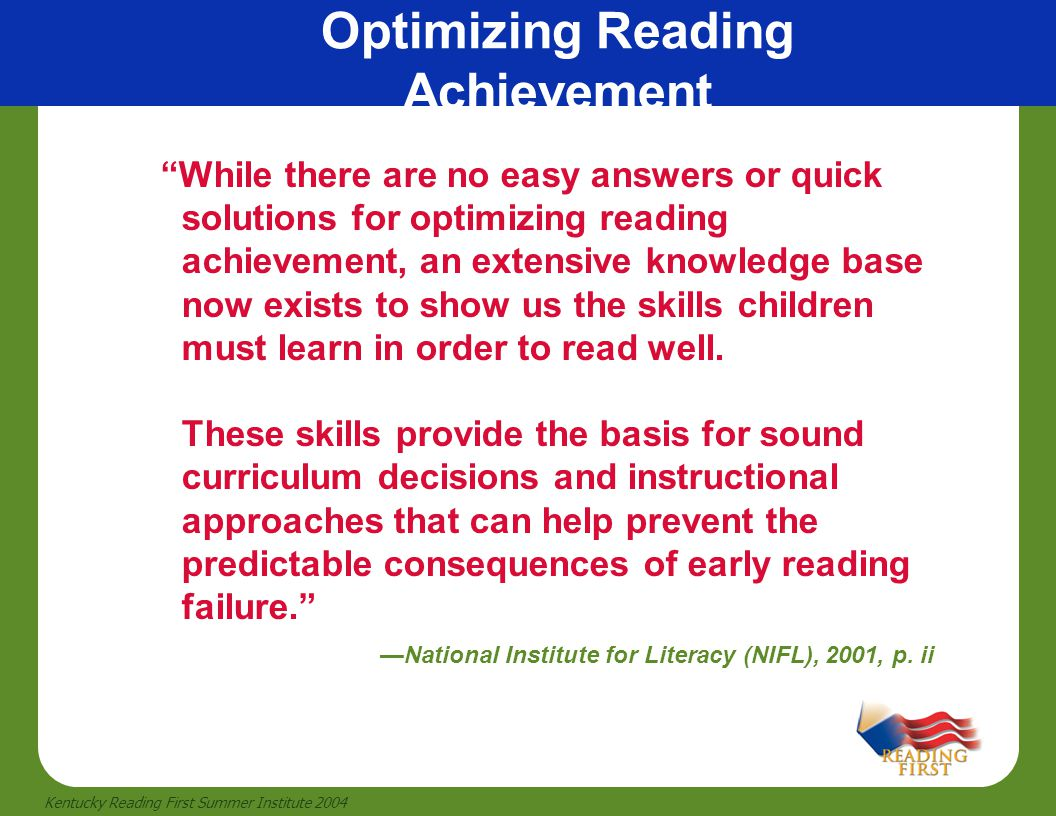 Optimizing Reading Achievement