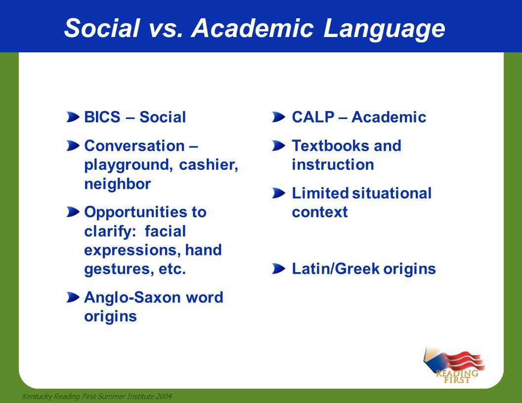 Social vs. Academic Language