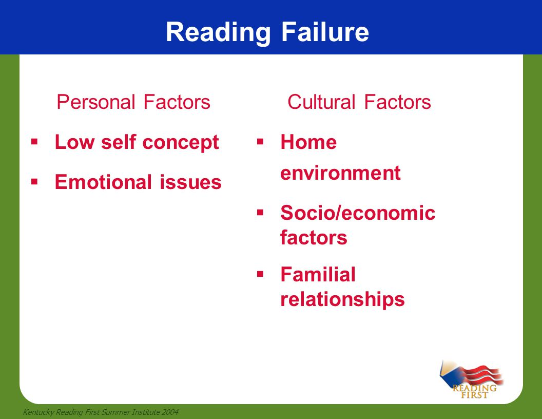 Reading Failure Personal Factors Low self concept Emotional issues