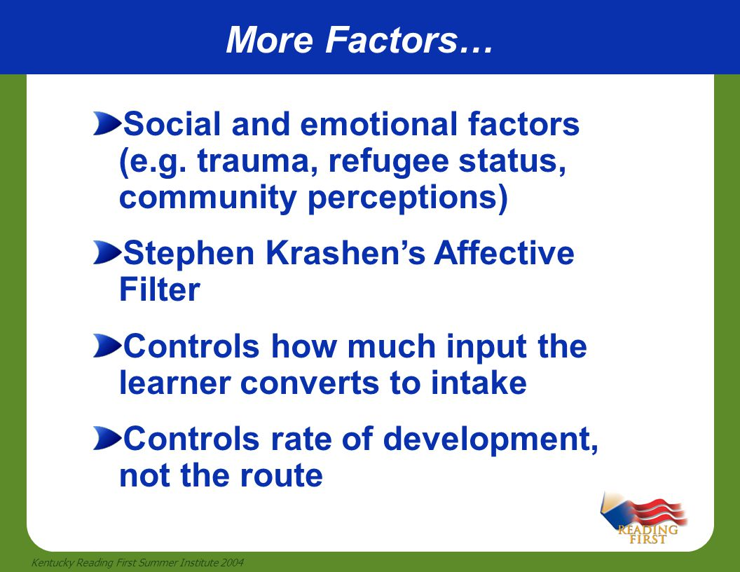 More Factors… Social and emotional factors (e.g. trauma, refugee status, community perceptions) Stephen Krashen's Affective Filter.