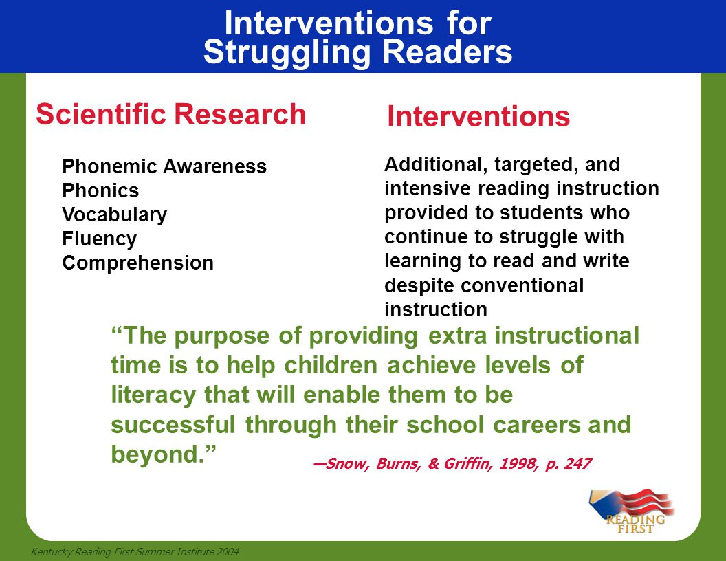 Interventions for Struggling Readers