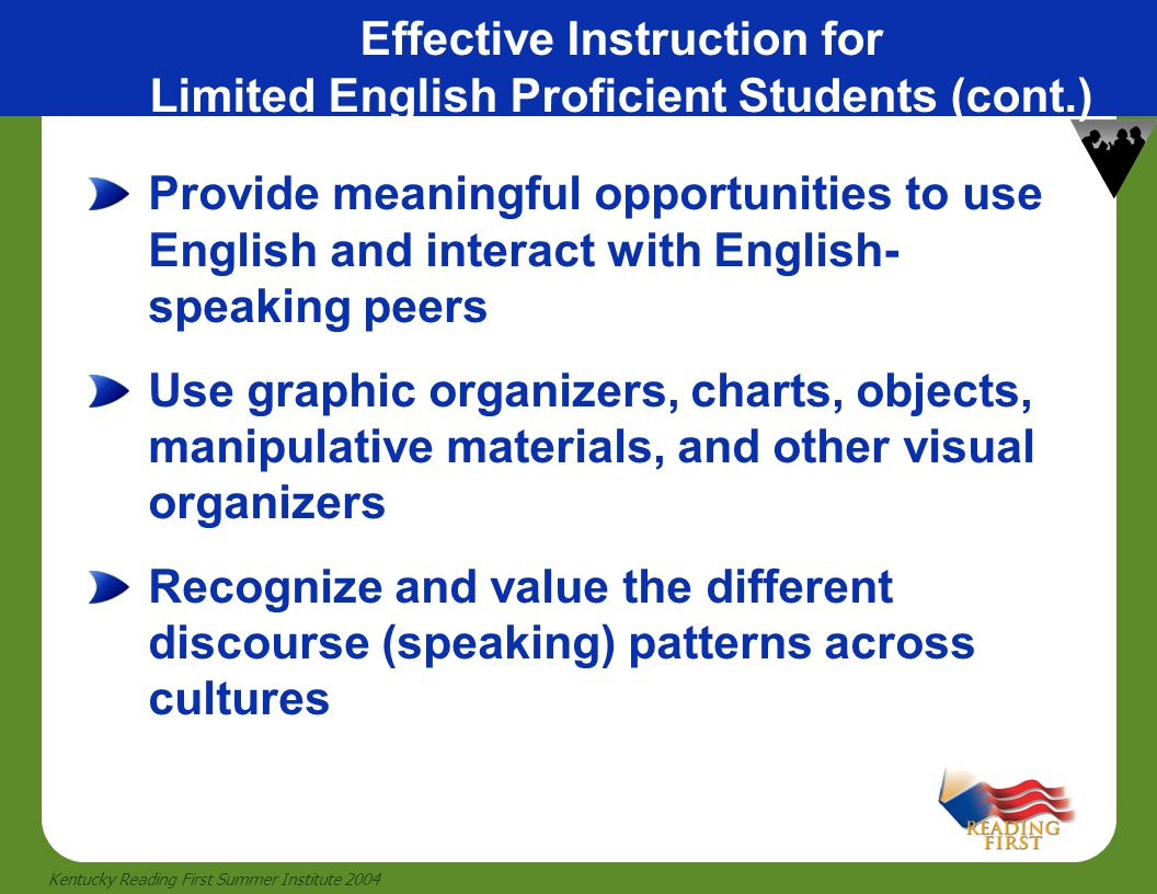Effective Instruction for Limited English Proficient Students (cont.)