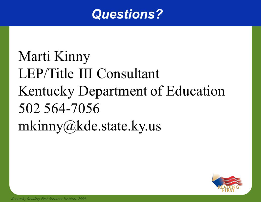 LEP/Title III Consultant Kentucky Department of Education 502 564-7056