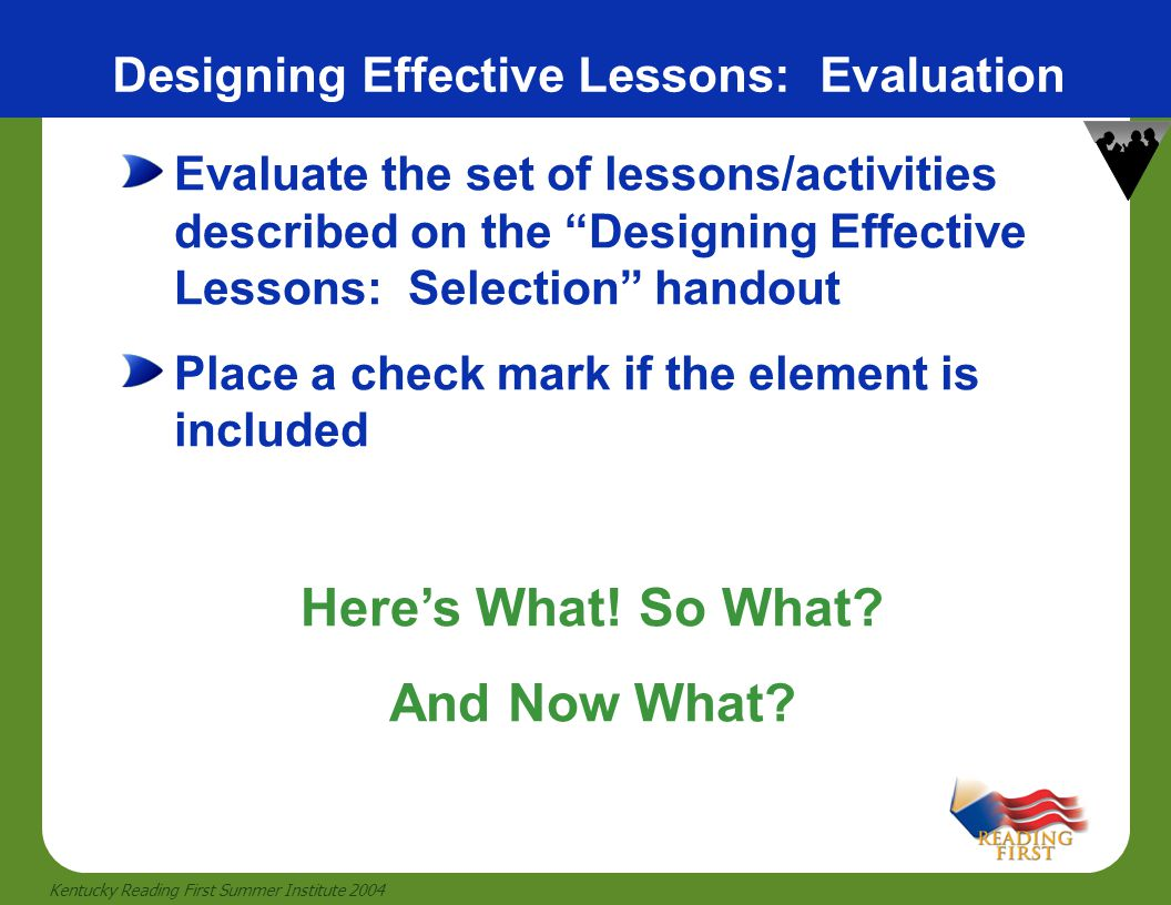 Designing Effective Lessons: Evaluation