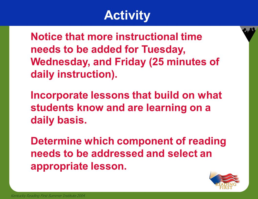 Activity Notice that more instructional time needs to be added for Tuesday, Wednesday, and Friday (25 minutes of daily instruction).