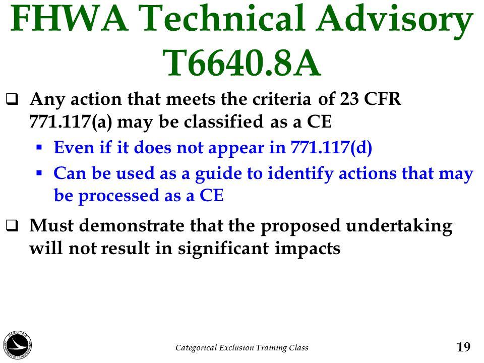FHWA Technical Advisory T6640.8A