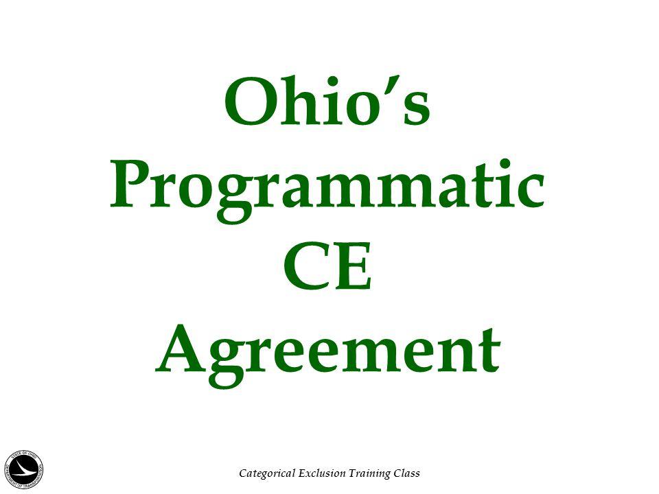 Ohio's Programmatic CE Agreement