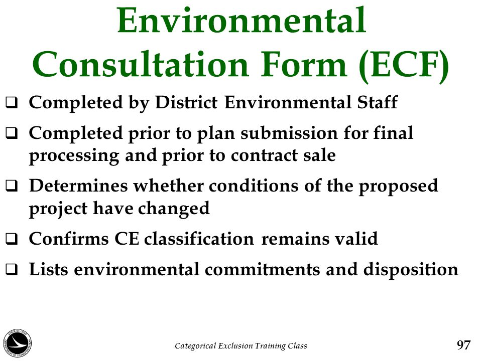 Environmental Consultation Form (ECF)