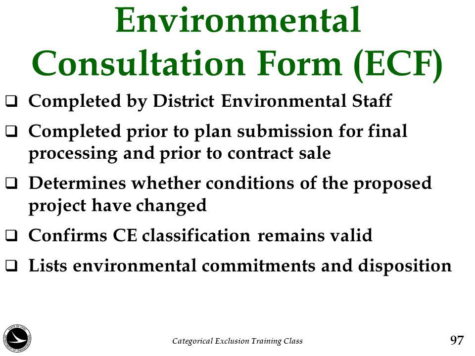 Environmental Consultation Form (ECF)