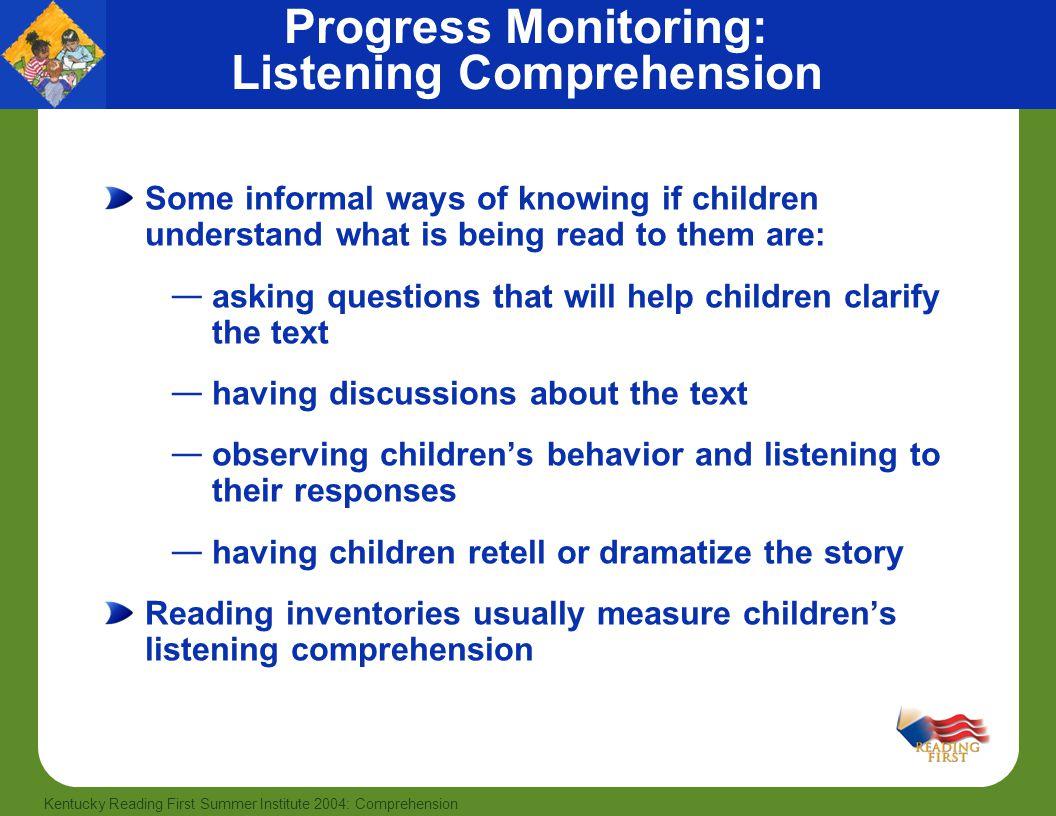 Progress Monitoring: Listening Comprehension