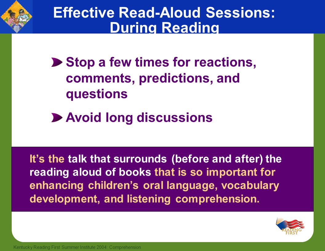 Effective Read-Aloud Sessions: During Reading