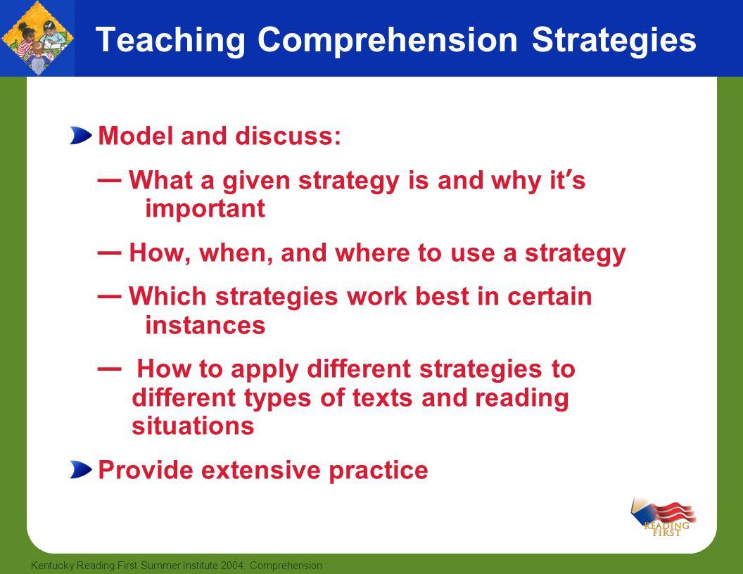 Teaching Comprehension Strategies