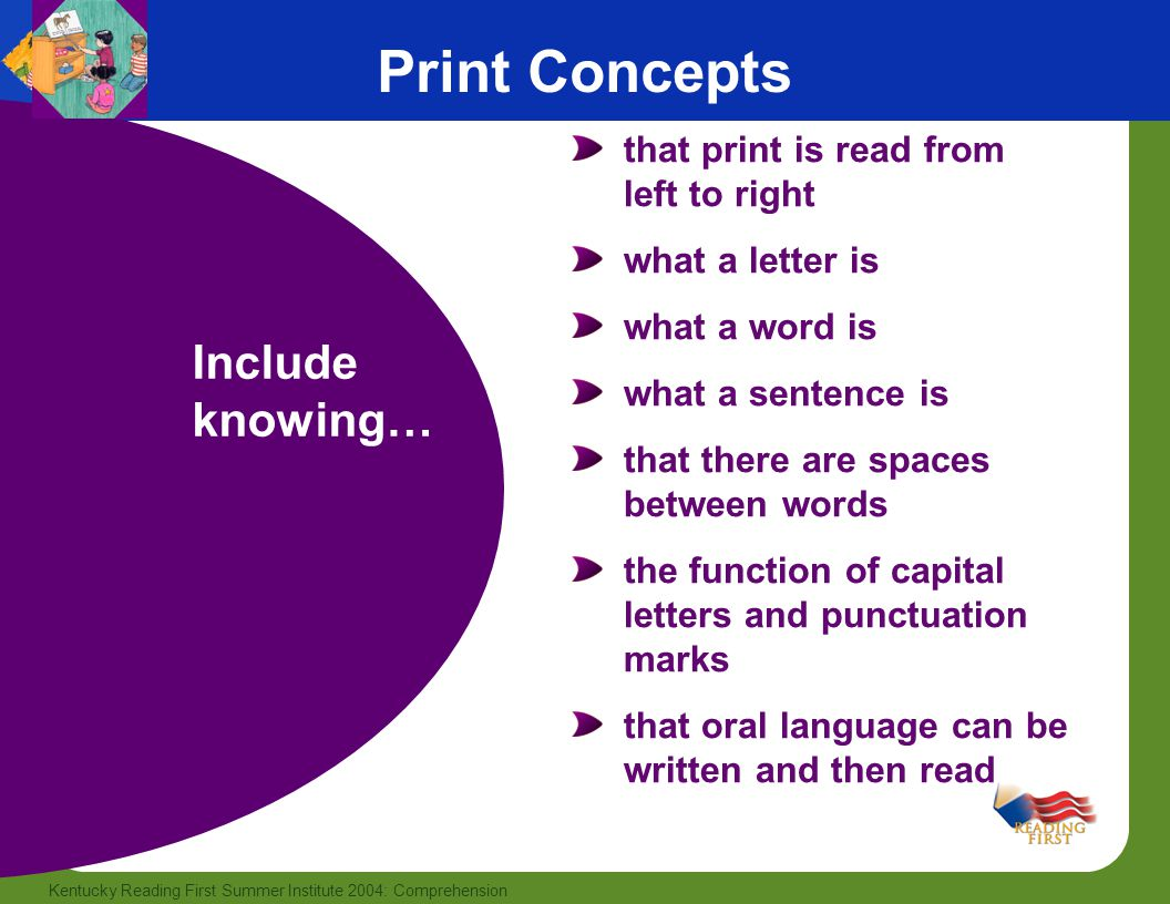 Print Concepts Include knowing… that print is read from left to right