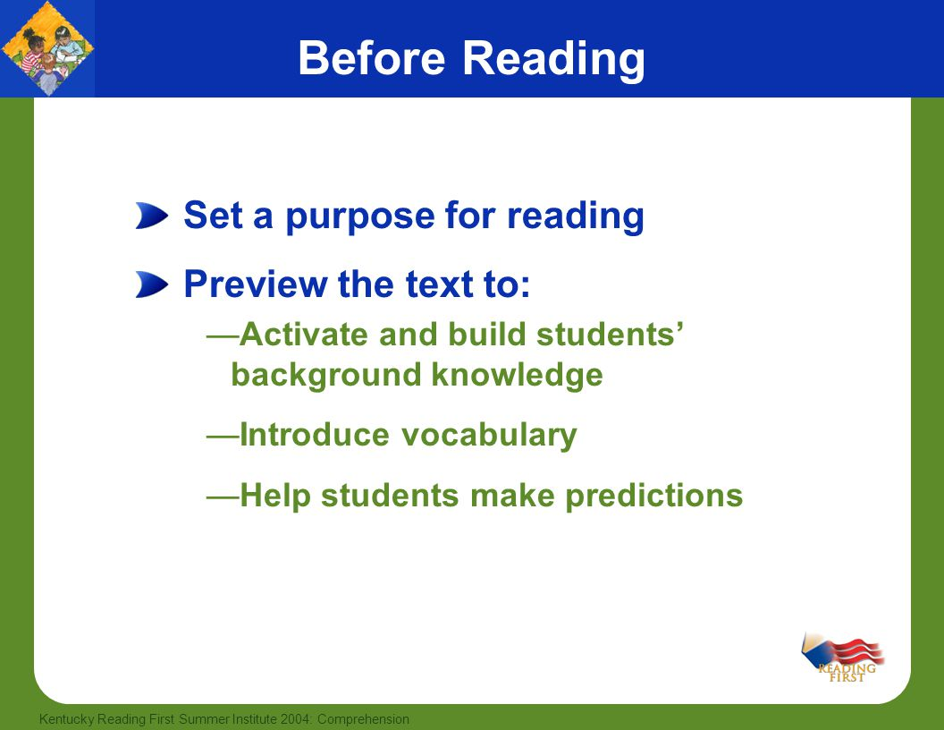 Before Reading Set a purpose for reading Preview the text to: