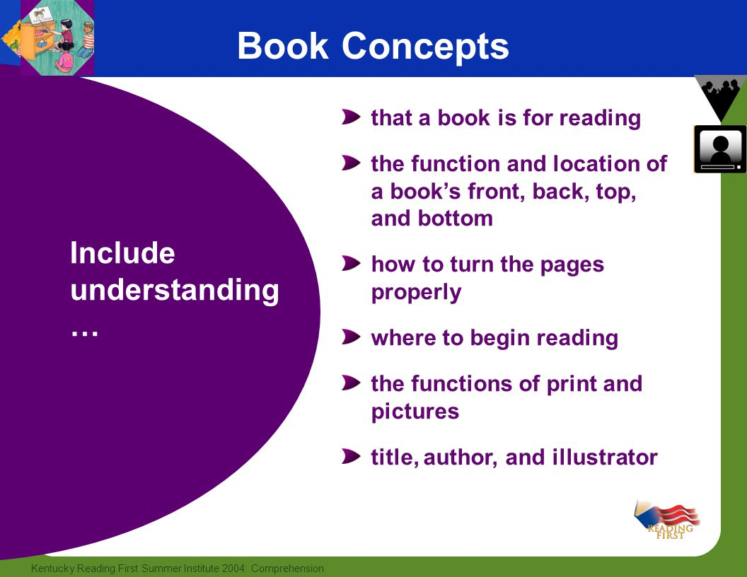 Book Concepts Include understanding… that a book is for reading