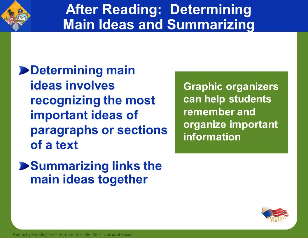 After Reading: Determining Main Ideas and Summarizing